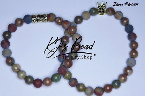 His & Hers Set   Striped Jade & Matte Picasso Stone