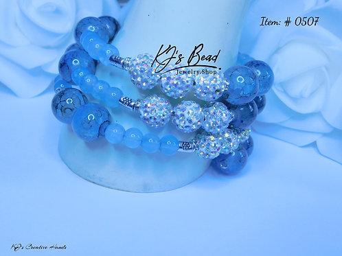 Icy Blue - Memory Wire   Larimar Stone