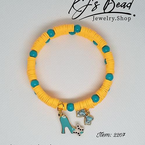 Blue Tangerine Memory Wire Bracelet