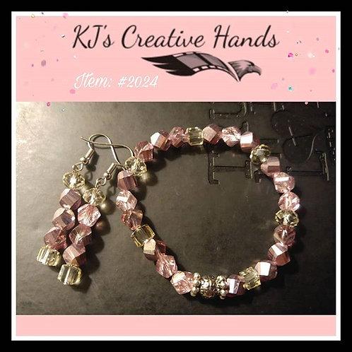 Princess Purple Glass Bracelet and Earrings Set