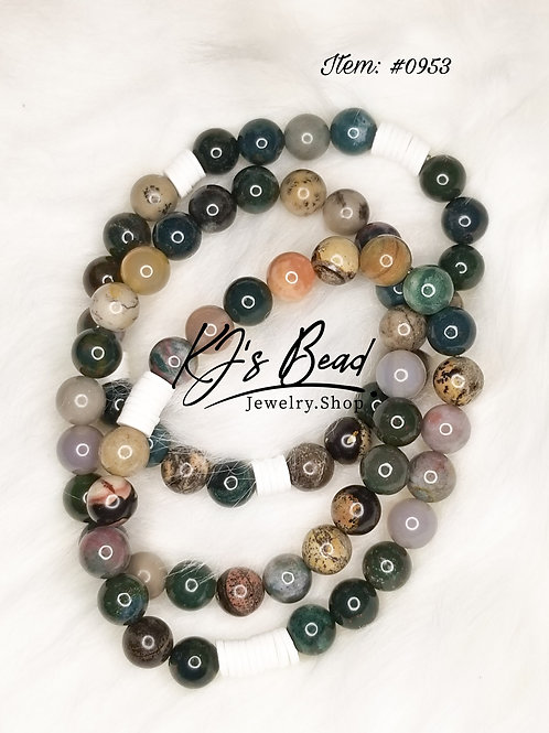 Bloodstone, Clay Beads & Artistic Jasper Set