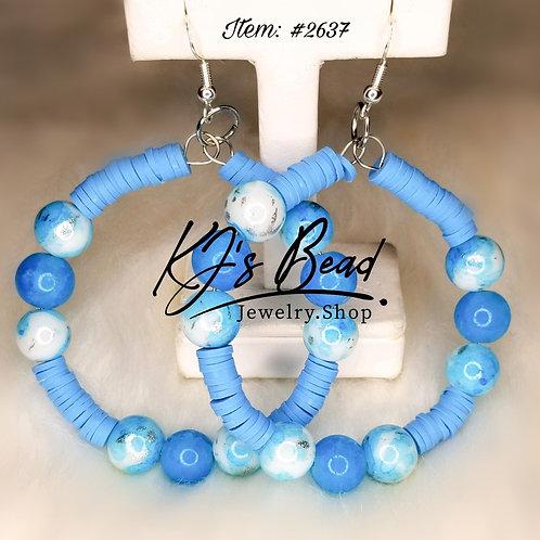 Frozen Blue Hoop Earrings