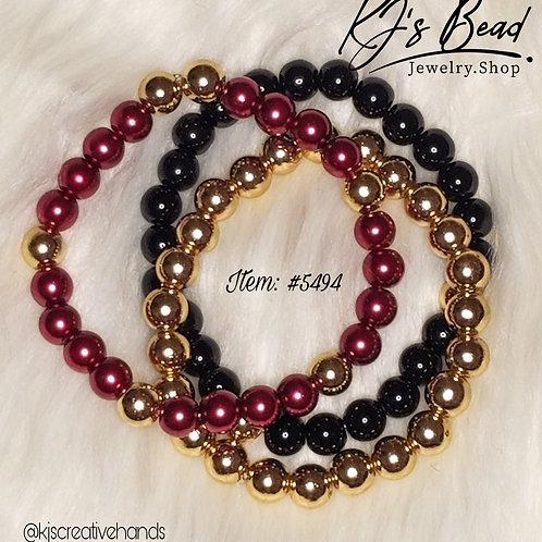 Red & Black Pearls w/ 14k Gold Hematite Stone