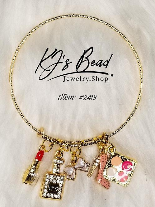 5 Charm Gold Bangle Bracelet
