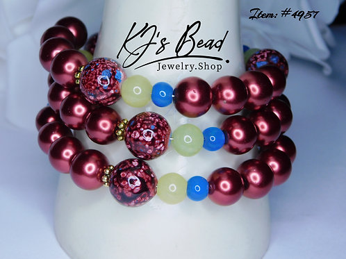 Red Pearls   Red Marble   Yellow & Blue Jade Memory Wire