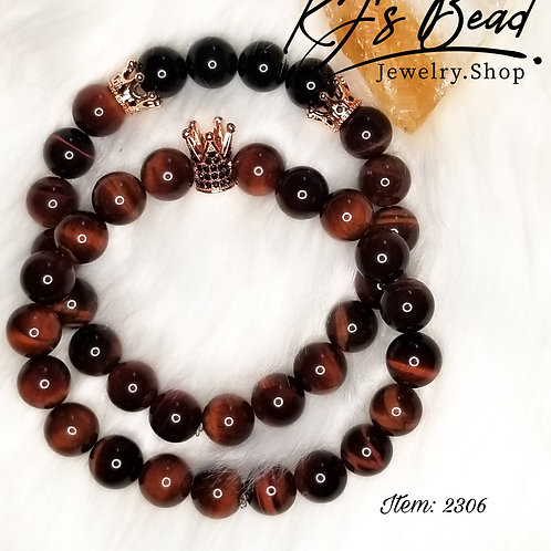 Set- Red Tiger Eye & Obsidian w/ Rose Gold Crowns