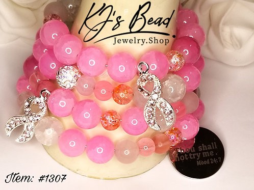 Breast Cancer Awareness Memory Wire Bracelet