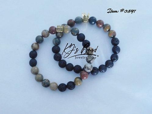 Picasso Jasper w/ Lava Beads Men's Set