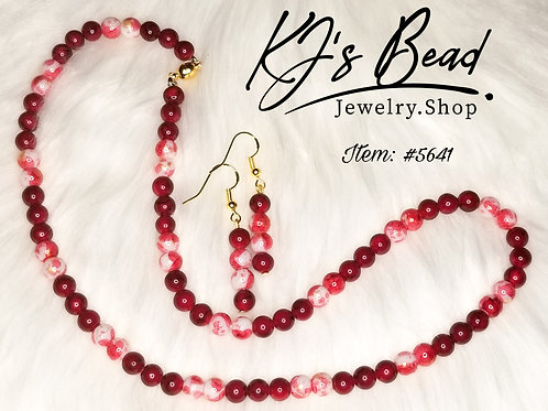 Red Stone Quartz & Red Gold Leaf Necklace & Earrings Set
