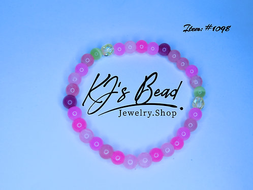 Multi Pink Jade w/ Yellow Cat Eye & Glass
