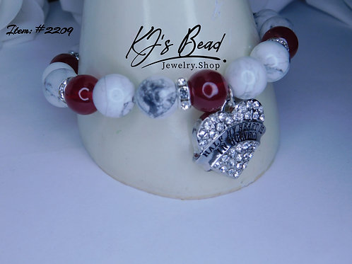 Memory Bracelet -Blood Red Jade & White Turquoise