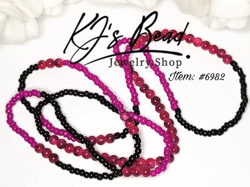 Fuchsia & Black Sead Beads w/ Pink Marble Waist Beads