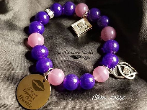 Sangria & Purple Jade Bracelet with charms