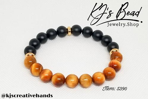 Golden Brown Tiger Eye & Black Onyx