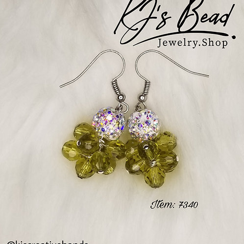 Green Cascade Earrings with Disco Balls