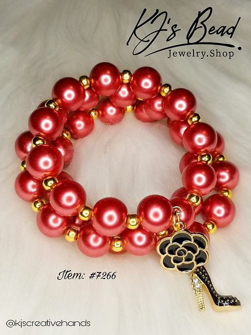 Coral Pearls & Gold Memory Wire Bracelet
