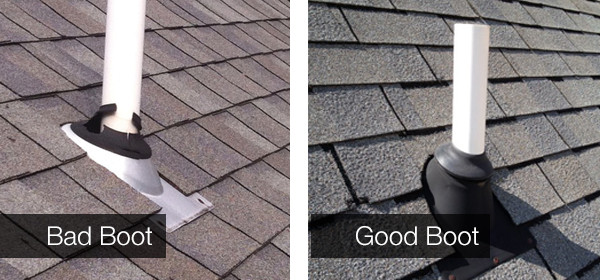 Image that compares a good roofing boot to a bad one