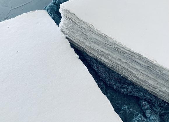 white Handmade Deckle Edge Paper (A5 size)