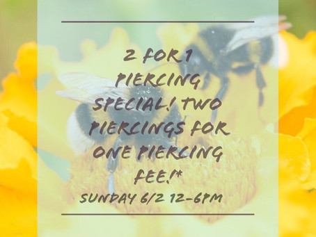 Piercing Special this Sunday!