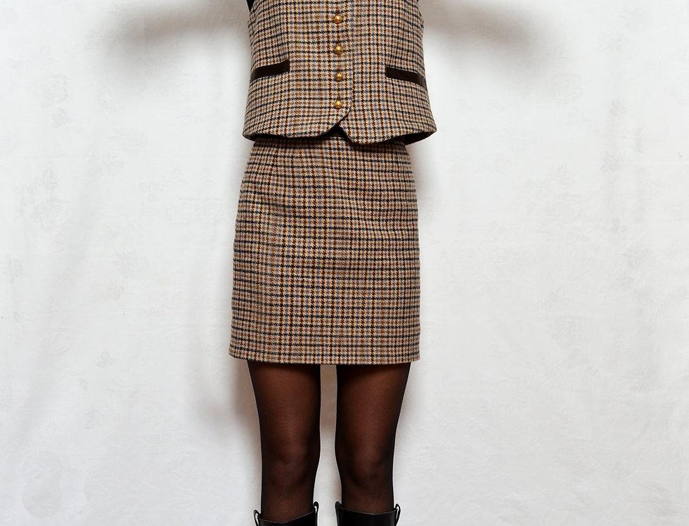 Plaid Wool Blend Mini Pencil Skirt