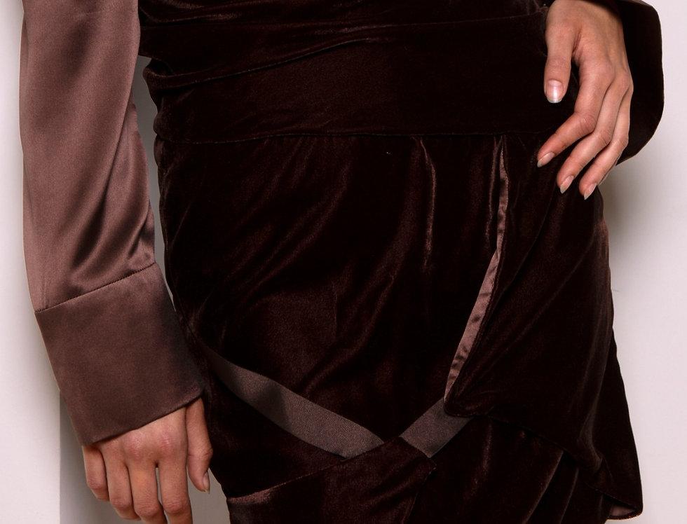 Asylum mid-waist velvet drape skirt
