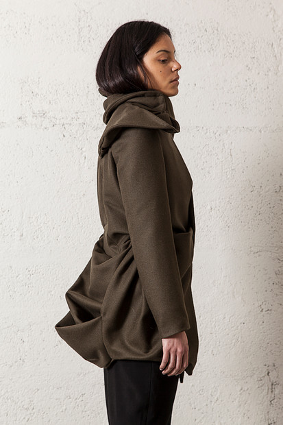 Draped wool coat                     Price on request     Product number: A01C