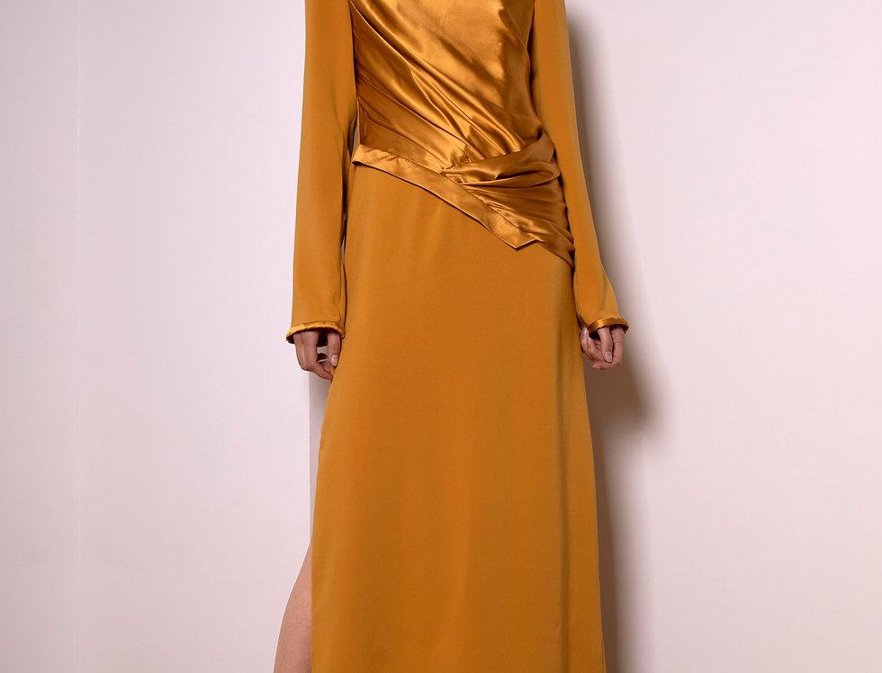 Moon long silk and crepe dress
