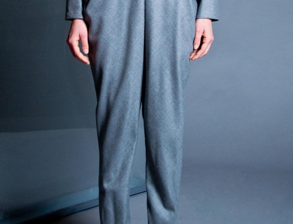 High-waist draped wool pant