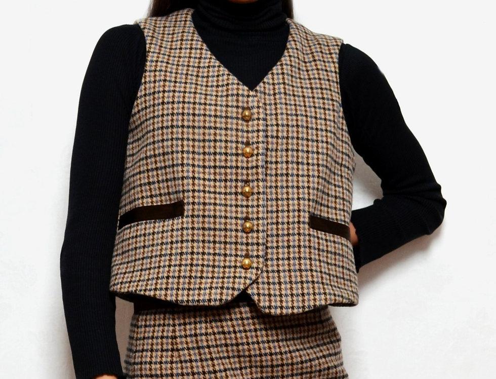 Plaid Wool Blend Vest