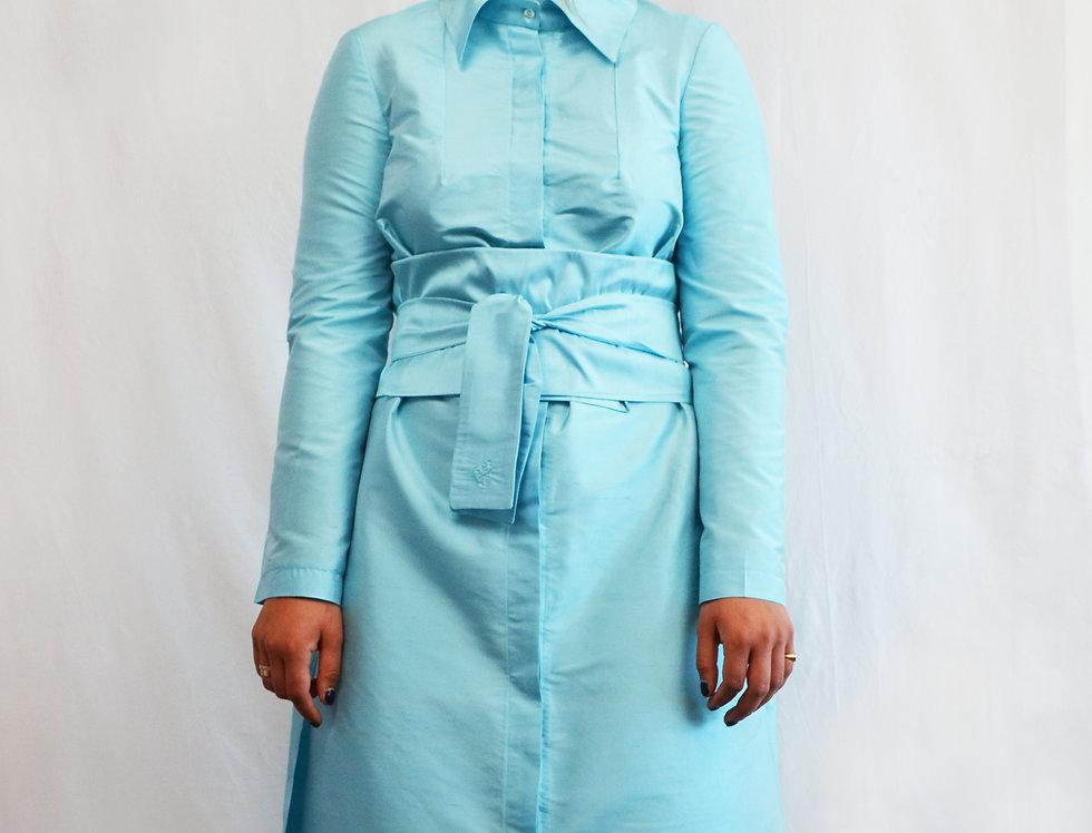 Belted  Silk Shirt Dress