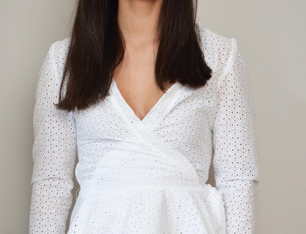 English lace peplum wrap blouse
