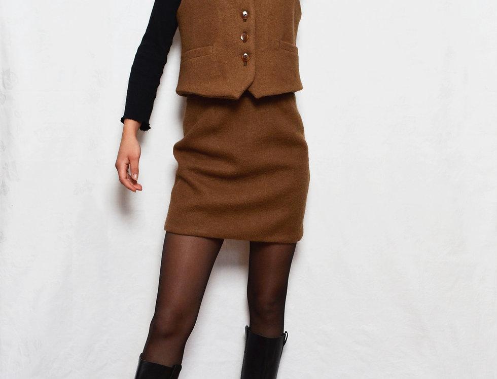 Wool Blend Mini Pencil Skirt