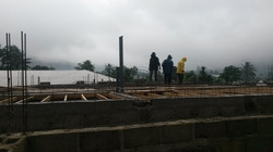 Heavy rain, but the work continues.