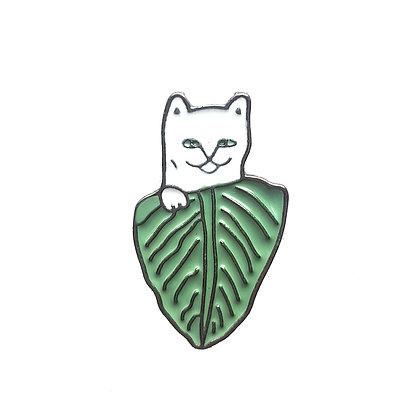 Значок Кот с листом