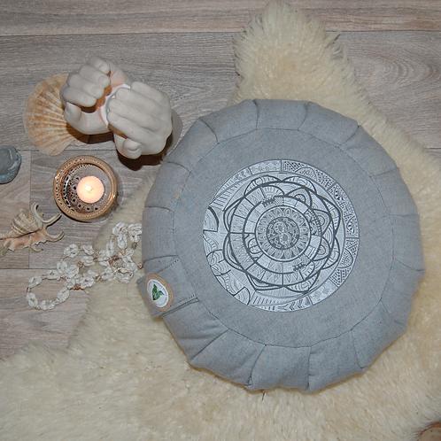 Reworked Denim Meditation Cushion with Hand Drawn Mandala