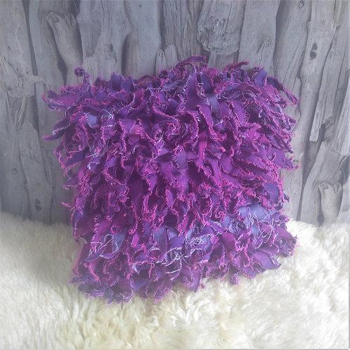 Shaggy Pink Denim Cushion Cover