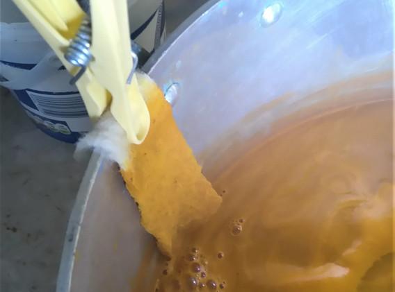 Bright yellow dye pot
