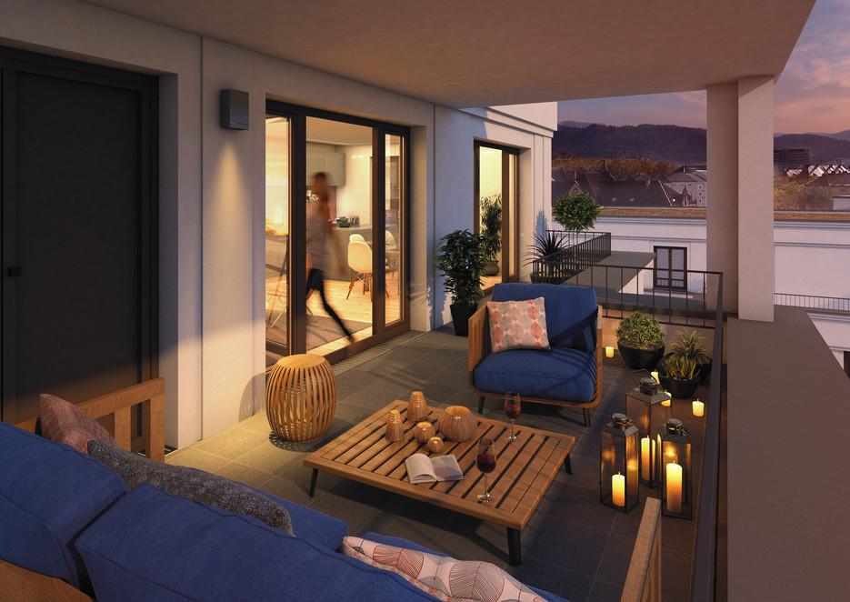 Visualisierung eines beleuchteten Balkons