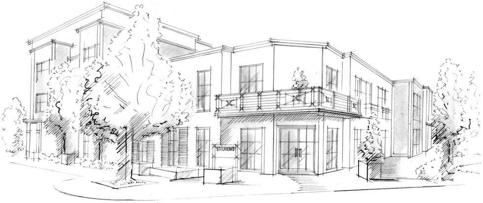 Skizze des Bürogebäudes der Stuckert Wohnbau AG in der Gewerbestraße 97 in 79194 Gundelfingen