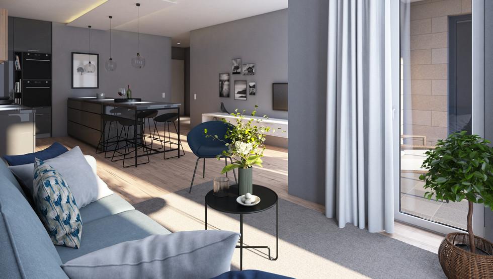Wohnzimmervisualisierung einer Eigenumswohnung