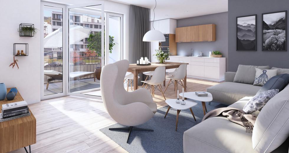 Visualisierung einer Wohnzimmers der Wohnanlage My Urban Living