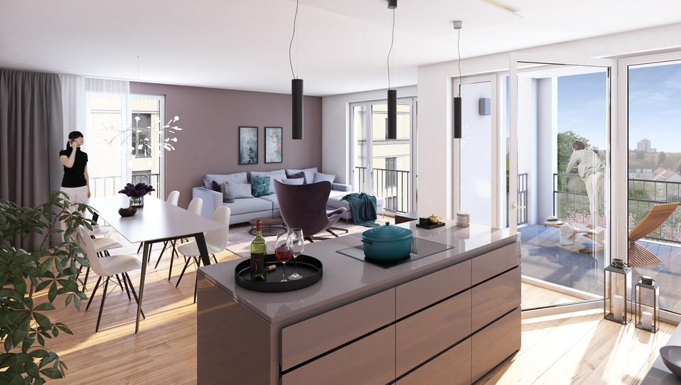 Visualisierung eines Koch- und Wohnbereichs