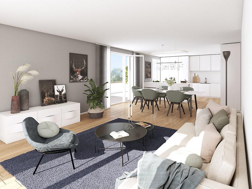 Waldkirch Papiergäßle Innenvisualisierung des Wohnraumes mit Blick auf den modernen Essbereich