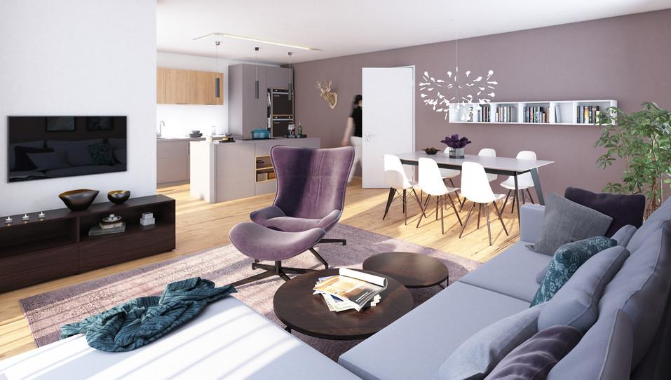 Visualisierung eines Wohn- und Essbereichs einer Eigentumswohnung