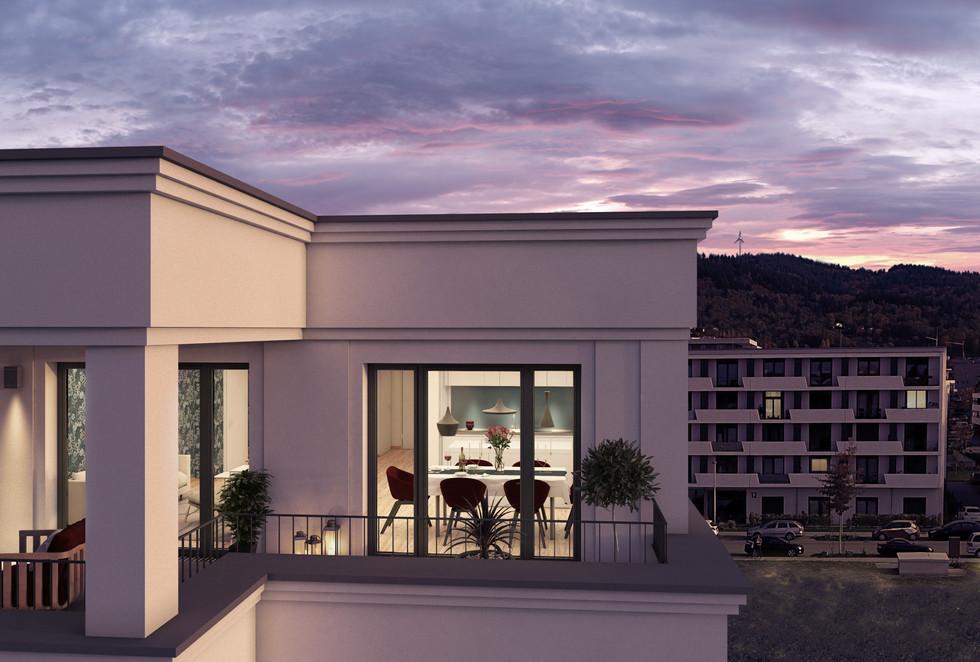 Visualisierung mit frontaler Sicht von außen auf eine beleuchtete Obergeschosswohnung.