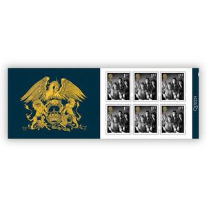 Livro de selos comemorativos dos 50 anos dos Queen