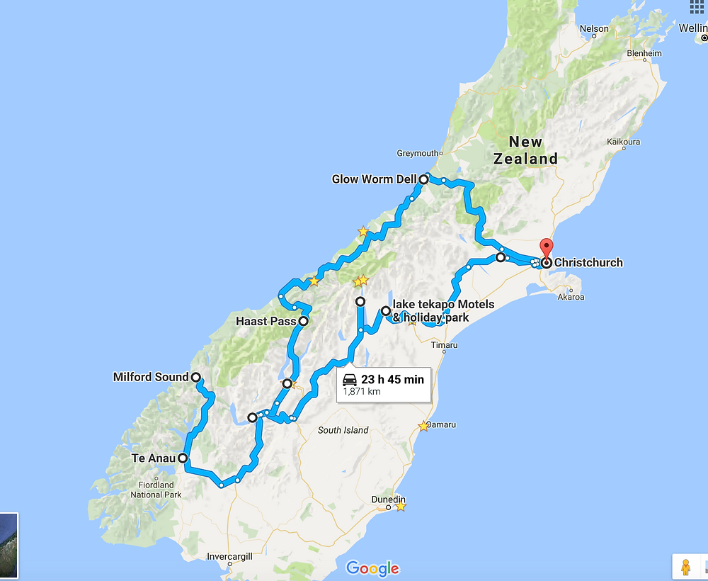New Zealand road trip route