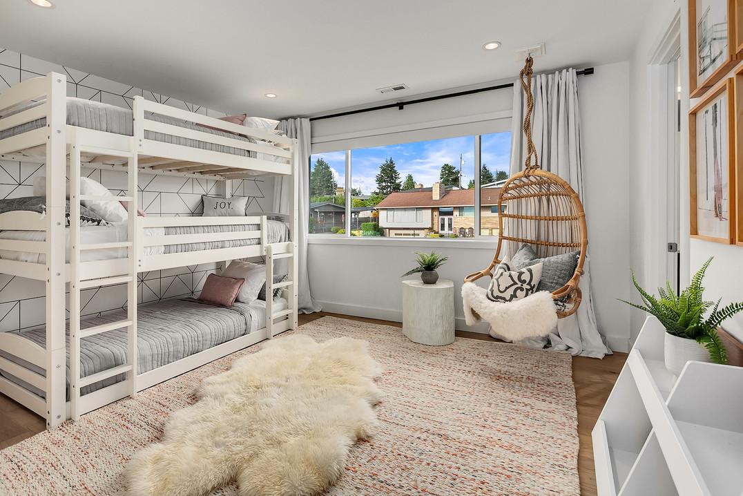 Mid century modern boho girls bedroom