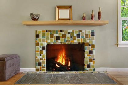 Recycled Glass Fireplace Surround