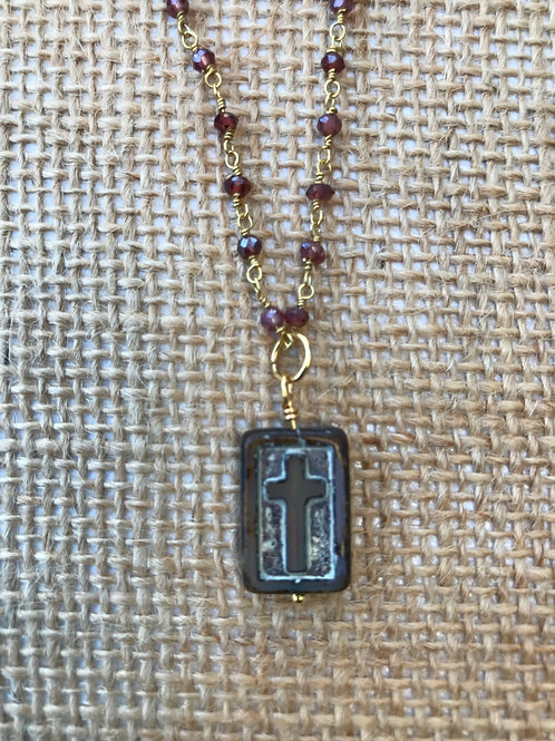 Carved Cross on Garnet and Gold Chain
